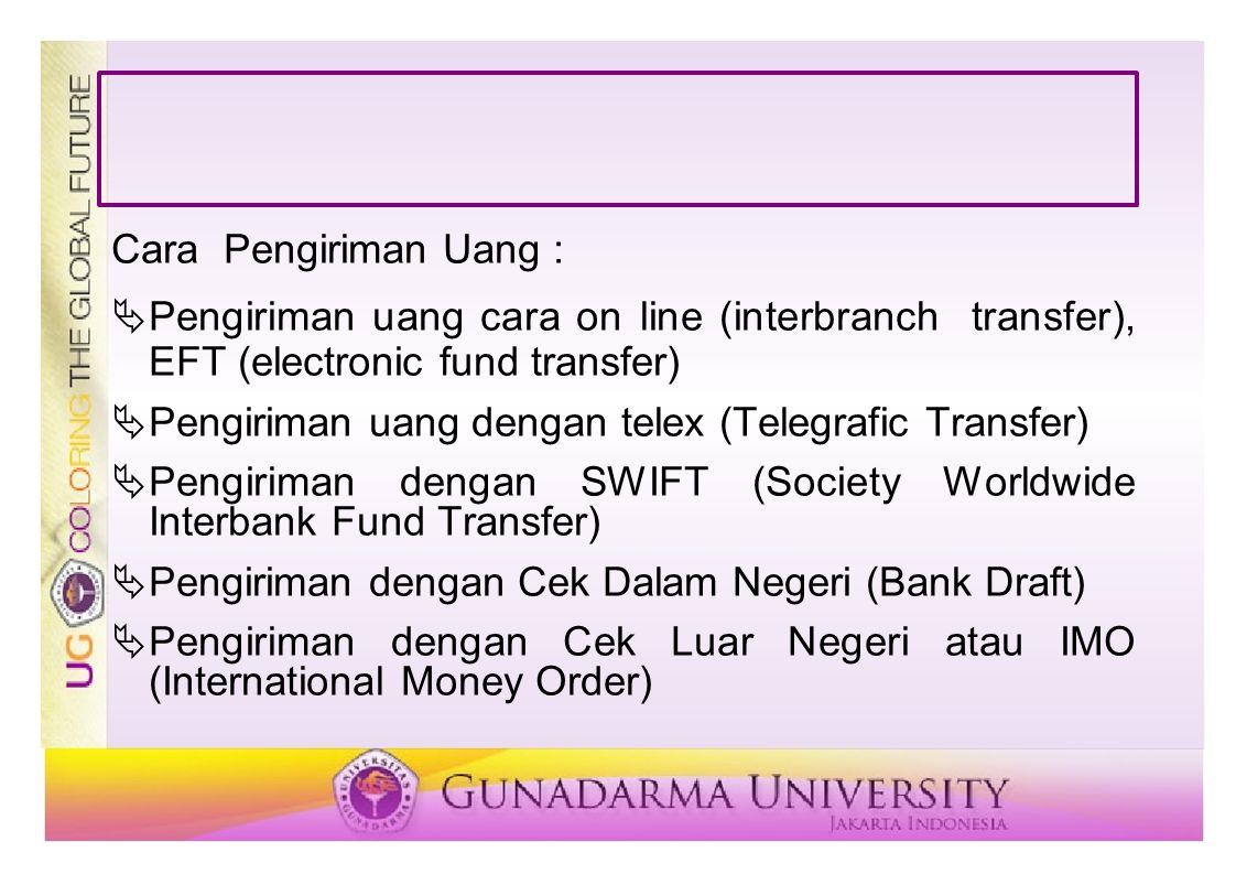 Cara Pengiriman Uang : Pengiriman uang cara on line (interbranch transfer), EFT (electronic fund transfer)