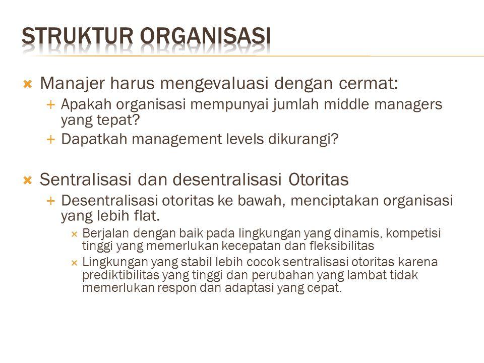 Struktur organisasi Manajer harus mengevaluasi dengan cermat: