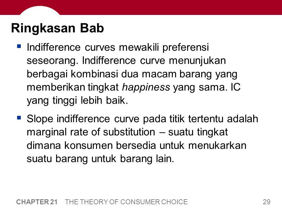 Bab Ringkasan Ketika harga dari suatu barang jatuh, akan berdampak pada income effect dan substitution effect.
