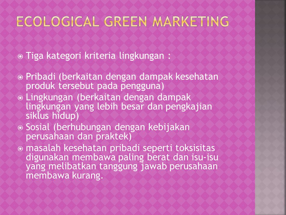Ecological Green Marketing