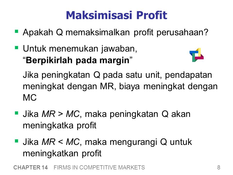 Profit Maximization Profit = MR – MC