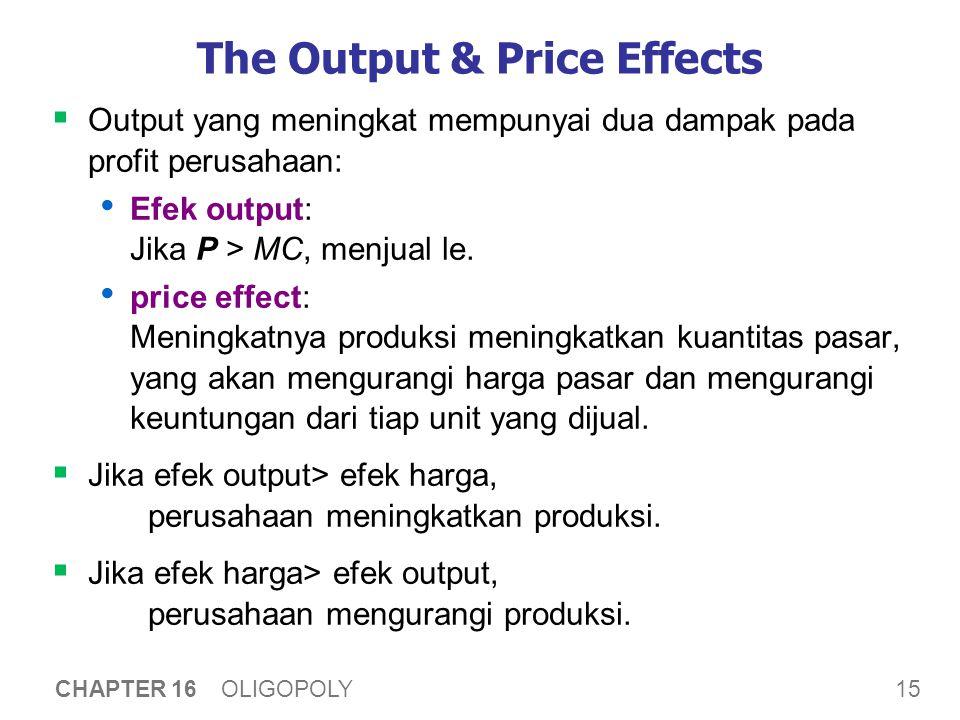 Ukuran Oligopoli Saat jumlah perusahaan di pasar meningkat, Efek harga menjadi lebih kecil.