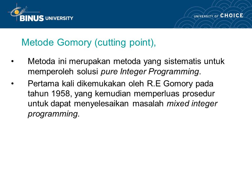 Metode Gomory (cutting point),