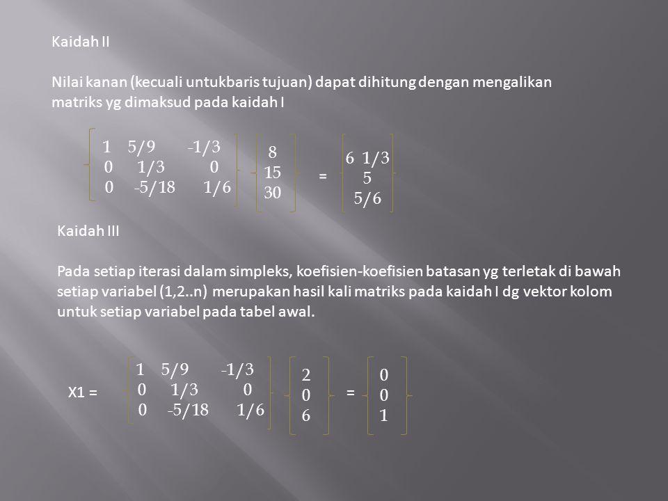 Kaidah II Nilai kanan (kecuali untukbaris tujuan) dapat dihitung dengan mengalikan matriks yg dimaksud pada kaidah I.