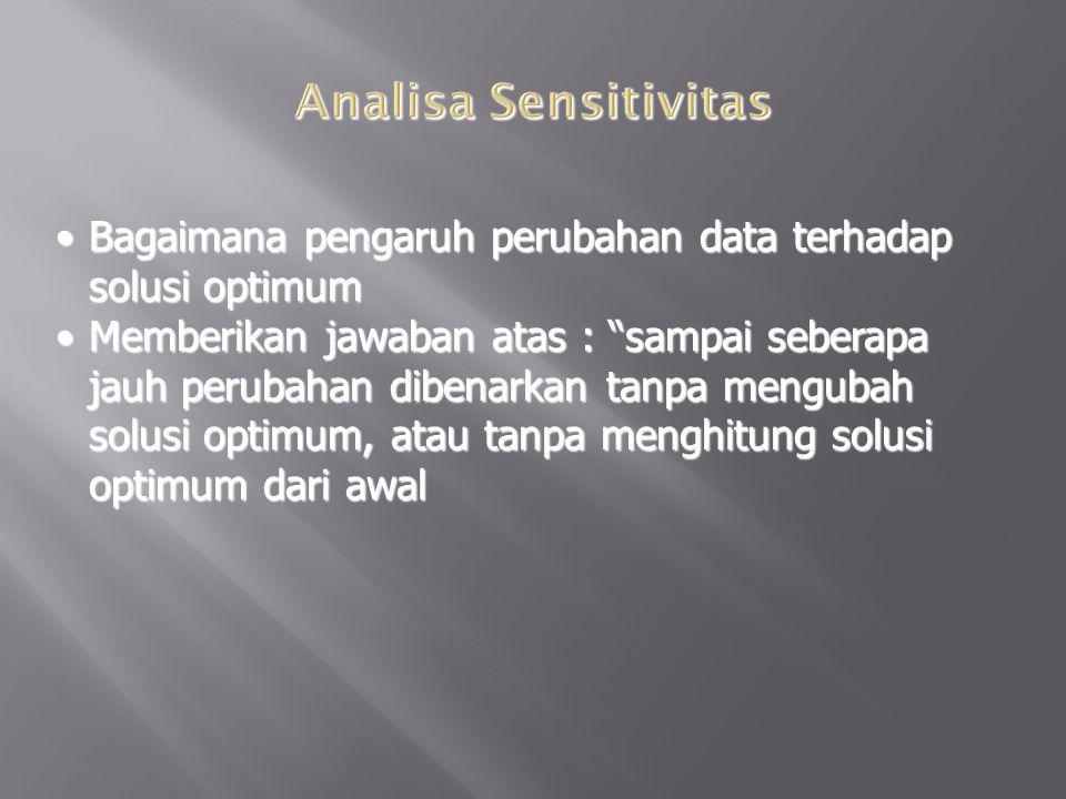 Analisa Sensitivitas Bagaimana pengaruh perubahan data terhadap solusi optimum.