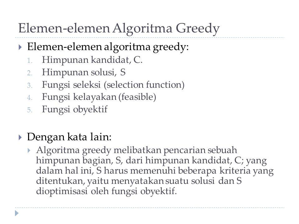 Elemen-elemen Algoritma Greedy