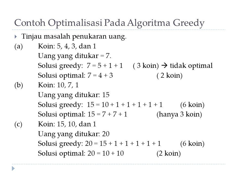 Contoh Optimalisasi Pada Algoritma Greedy
