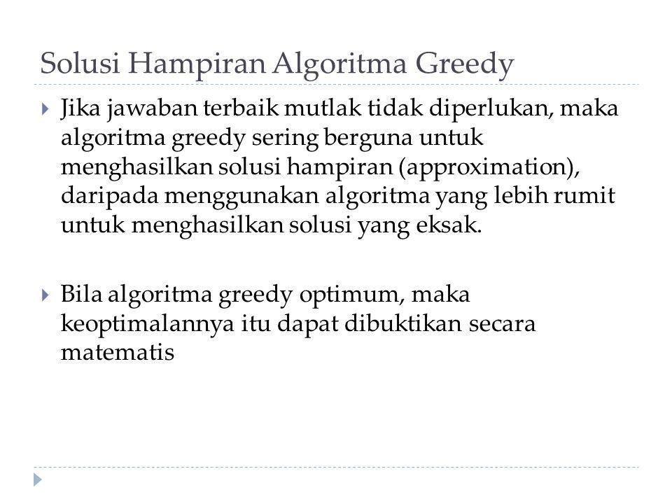 Solusi Hampiran Algoritma Greedy