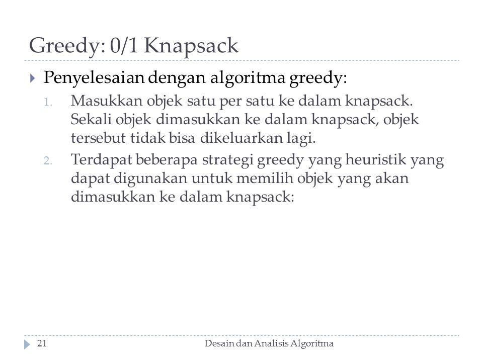 Greedy: 0/1 Knapsack Penyelesaian dengan algoritma greedy: