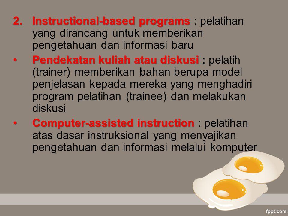 Instructional-based programs : pelatihan yang dirancang untuk memberikan pengetahuan dan informasi baru