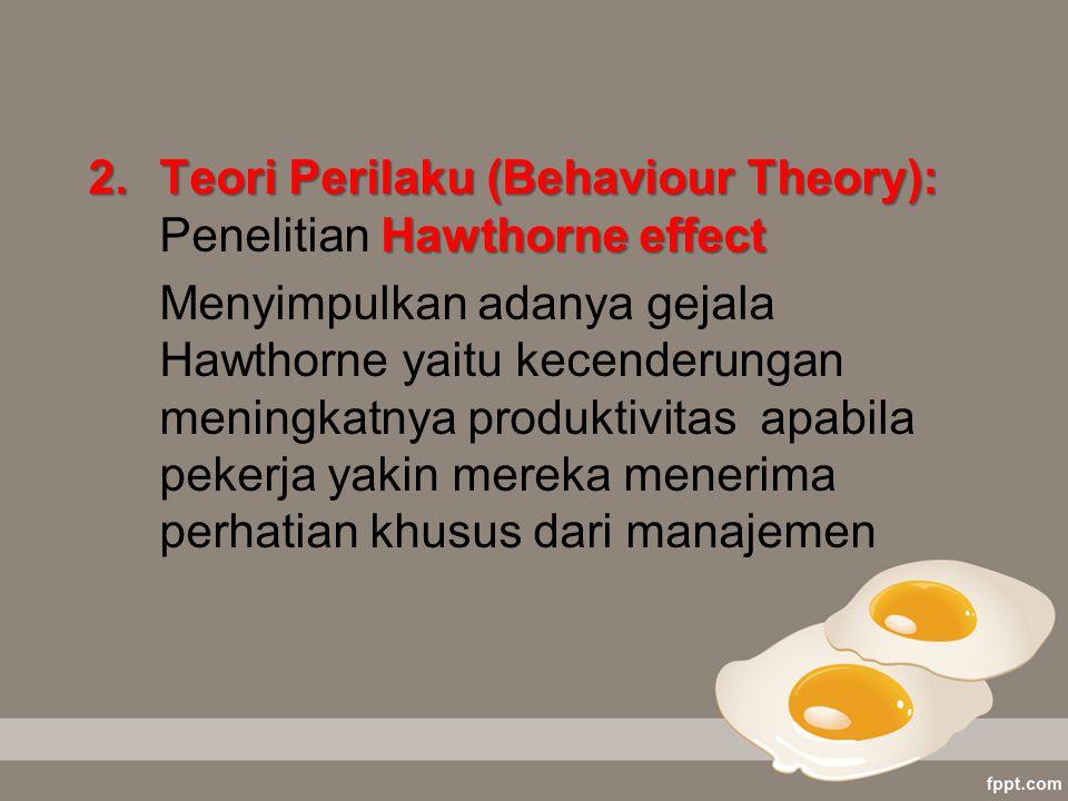 Teori Perilaku (Behaviour Theory): Penelitian Hawthorne effect