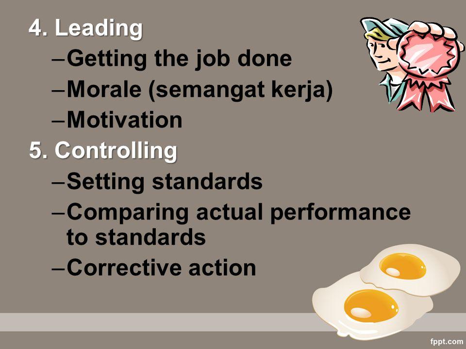 Morale (semangat kerja) Motivation 5. Controlling Setting standards