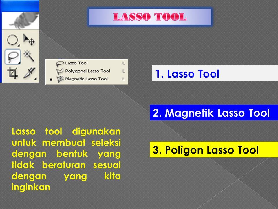 LASSO TOOL 1. Lasso Tool 2. Magnetik Lasso Tool 3. Poligon Lasso Tool