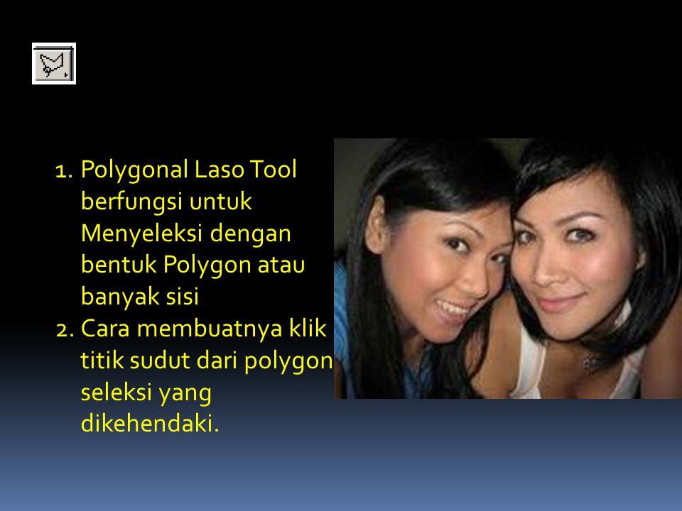Polygonal Laso Tool berfungsi untuk Menyeleksi dengan bentuk Polygon atau banyak sisi