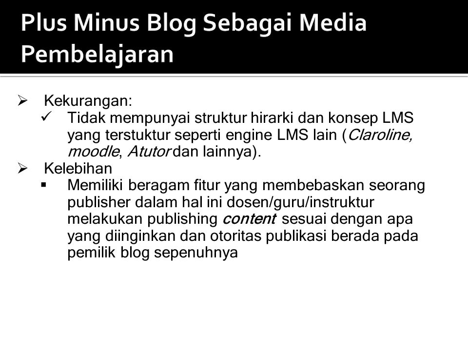 Plus Minus Blog Sebagai Media Pembelajaran