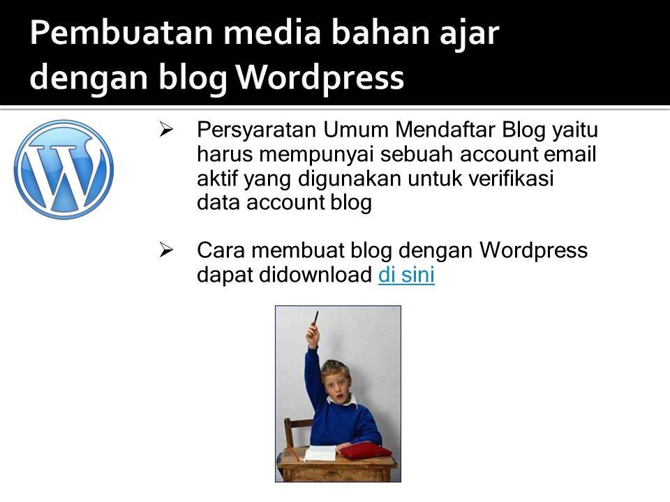 Pembuatan media bahan ajar dengan blog Wordpress