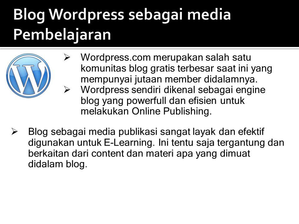 Blog Wordpress sebagai media Pembelajaran