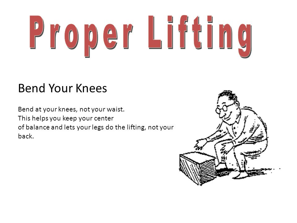 Proper Lifting Bend Your Knees Bend at your knees, not your waist.