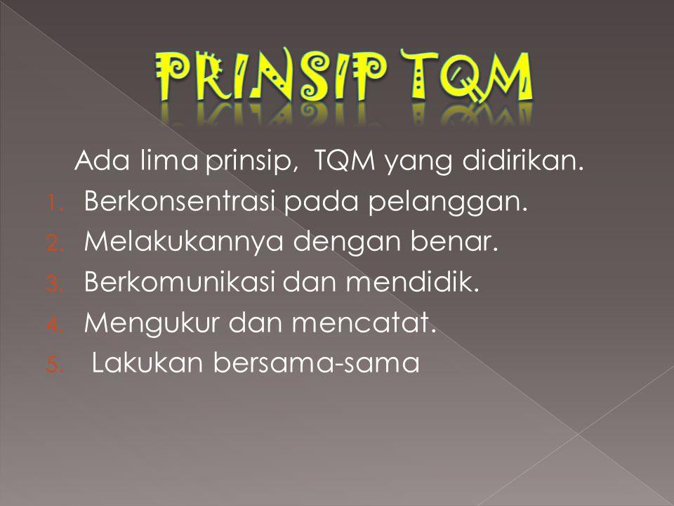 PRINSIP TQM Ada lima prinsip, TQM yang didirikan.