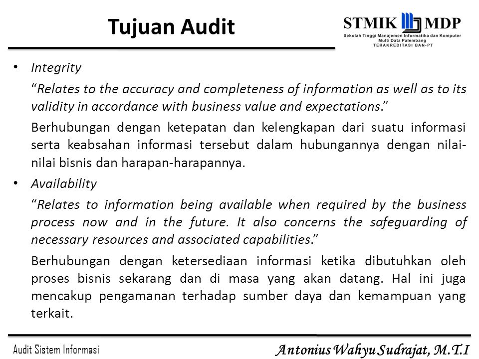 Tujuan Audit Integrity