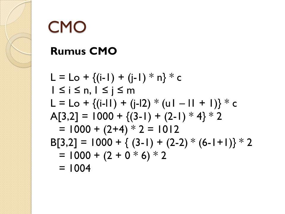 CMO Rumus CMO L = Lo + {(i-1) + (j-1) * n} * c 1 ≤ i ≤ n, 1 ≤ j ≤ m