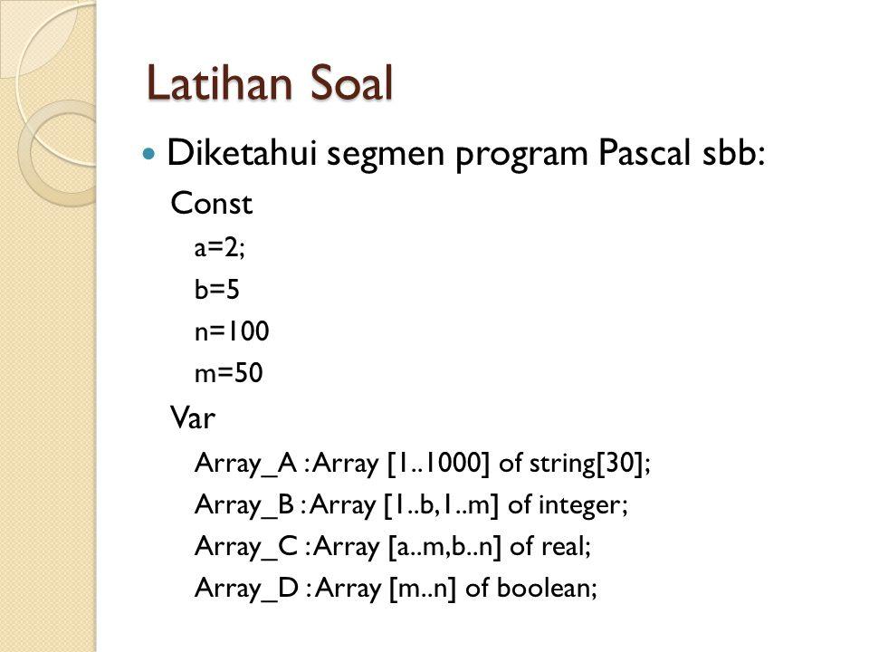 Latihan Soal Diketahui segmen program Pascal sbb: Const Var a=2; b=5