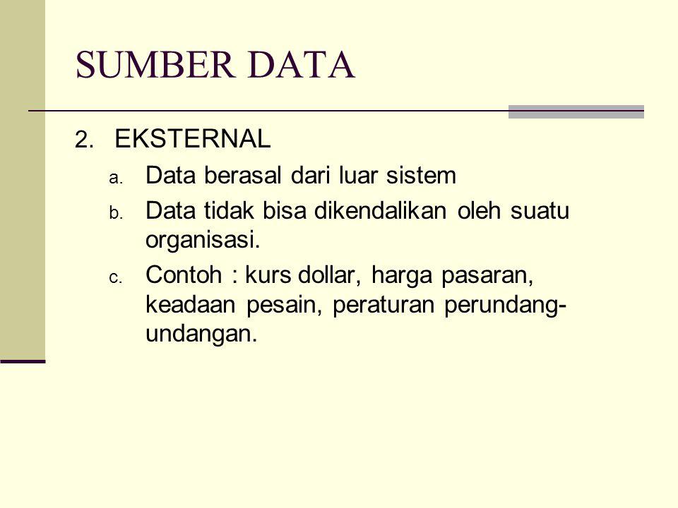SUMBER DATA EKSTERNAL Data berasal dari luar sistem