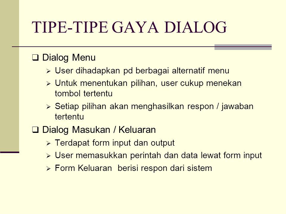 TIPE-TIPE GAYA DIALOG Dialog Menu Dialog Masukan / Keluaran