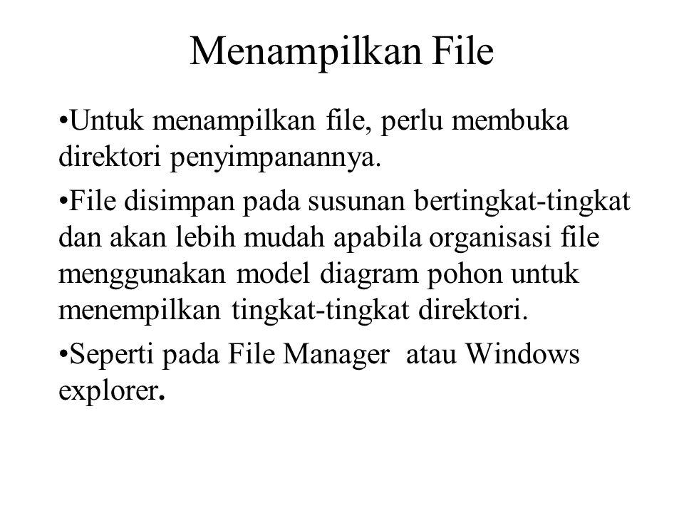 Menampilkan File Untuk menampilkan file, perlu membuka direktori penyimpanannya.
