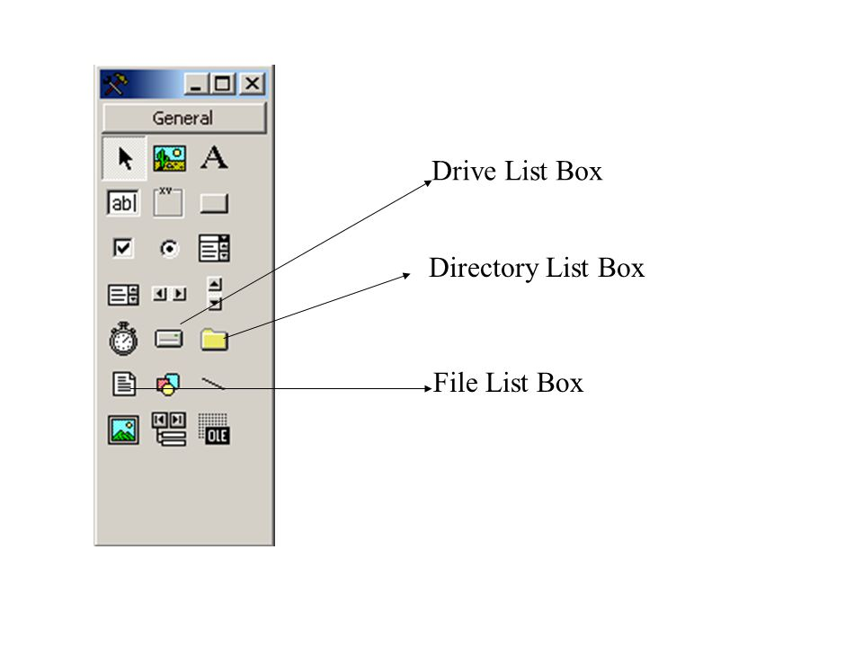 Drive List Box Directory List Box File List Box