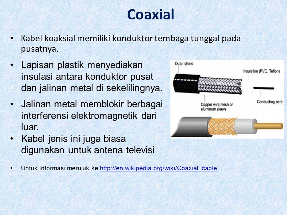 Coaxial Kabel koaksial memiliki konduktor tembaga tunggal pada pusatnya.