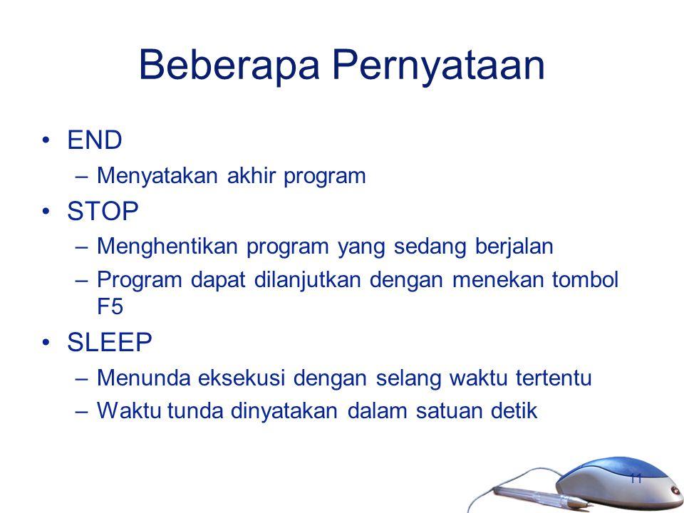 Beberapa Pernyataan END STOP SLEEP Menyatakan akhir program