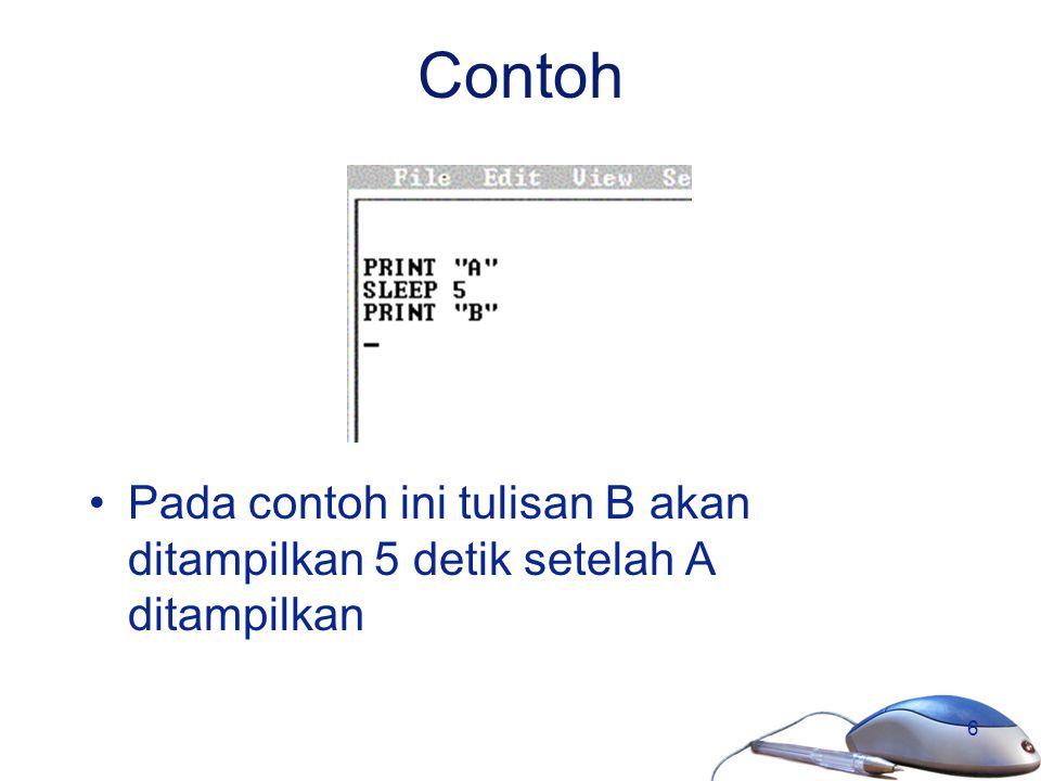 Contoh Pada contoh ini tulisan B akan ditampilkan 5 detik setelah A ditampilkan
