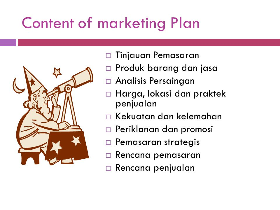 Content of marketing Plan
