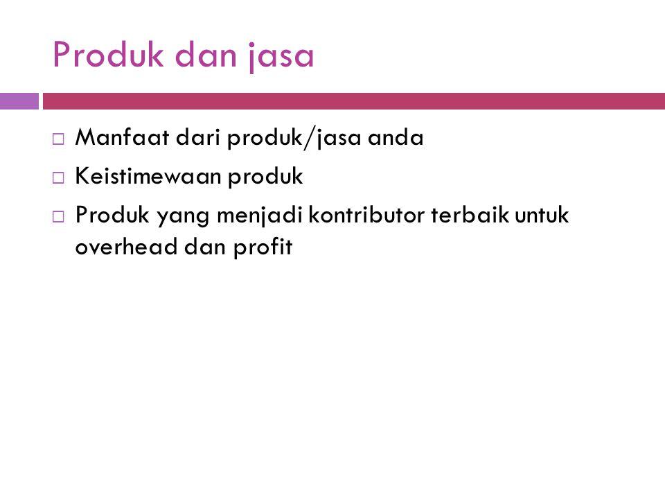 Produk dan jasa Manfaat dari produk/jasa anda Keistimewaan produk