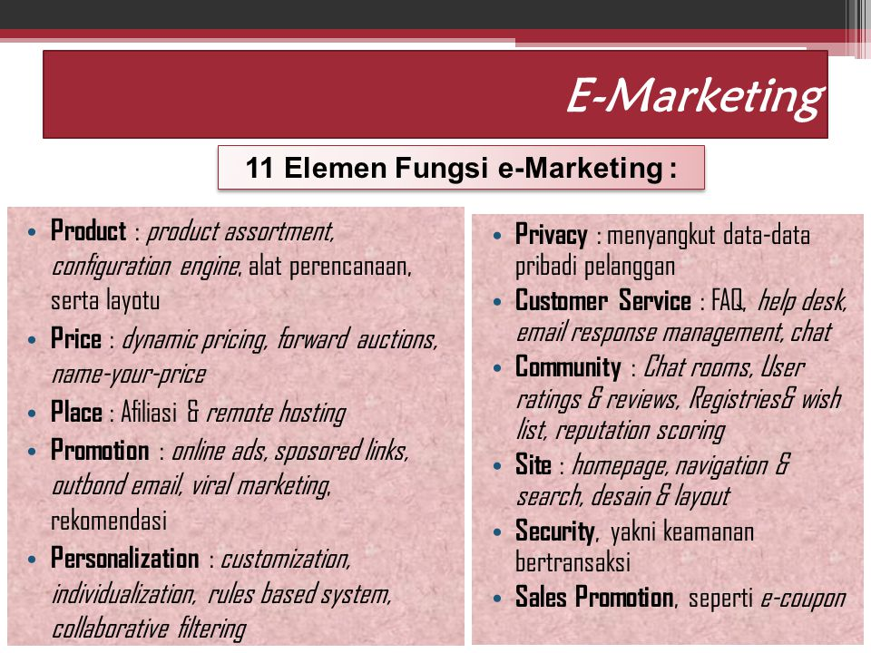 11 Elemen Fungsi e-Marketing :