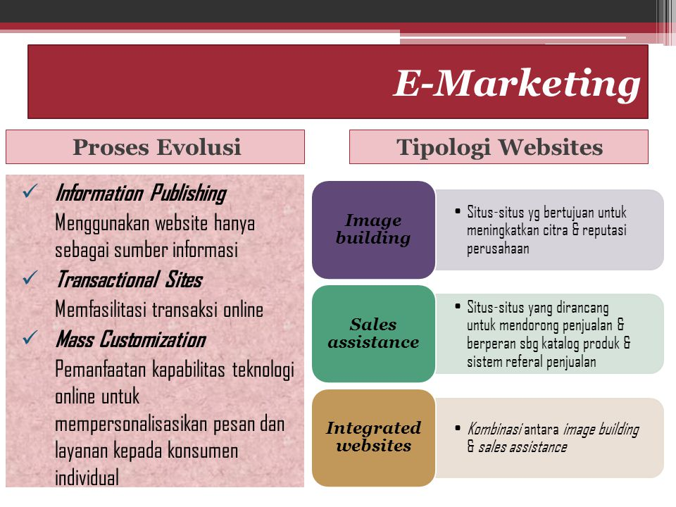 E-Marketing Proses Evolusi Tipologi Websites Information Publishing