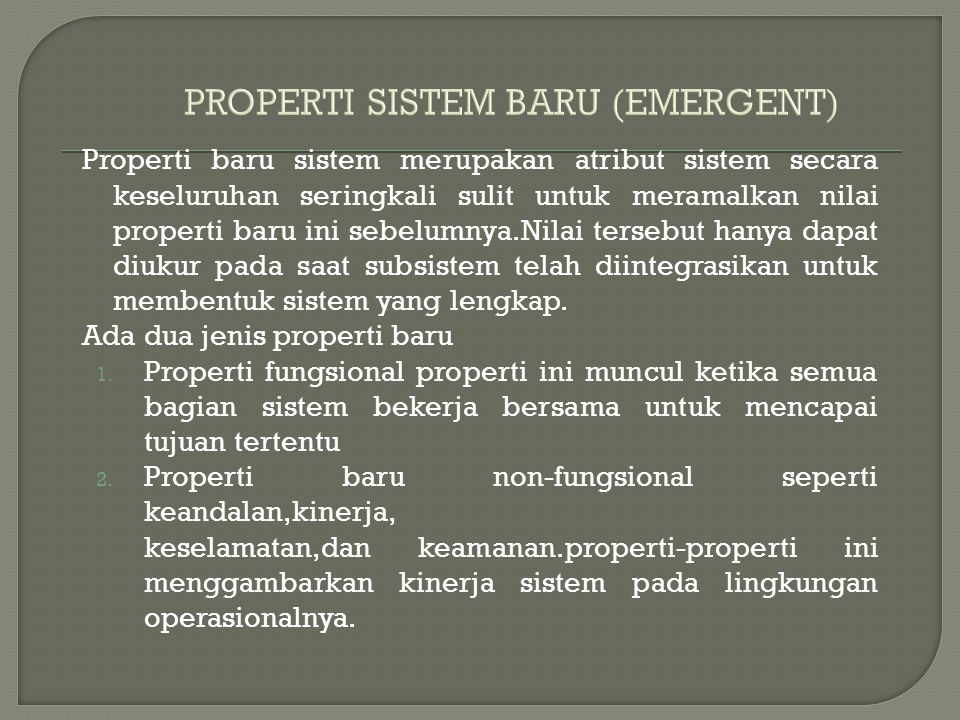 PROPERTI SISTEM BARU (EMERGENT)