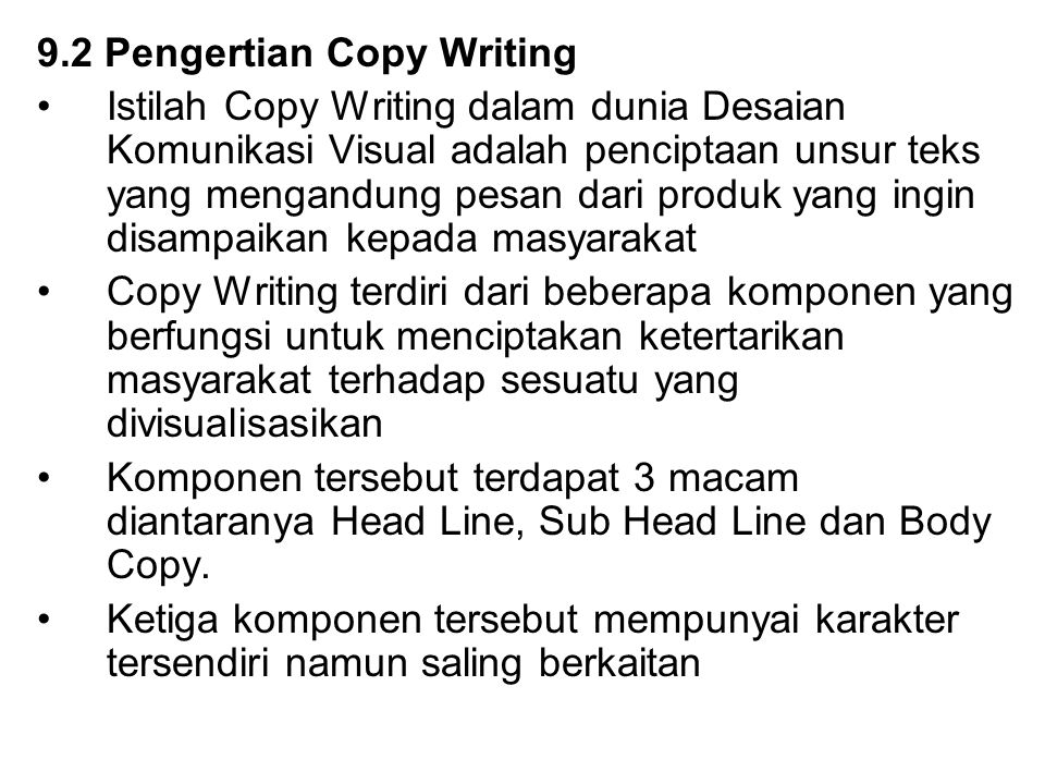 9.2 Pengertian Copy Writing