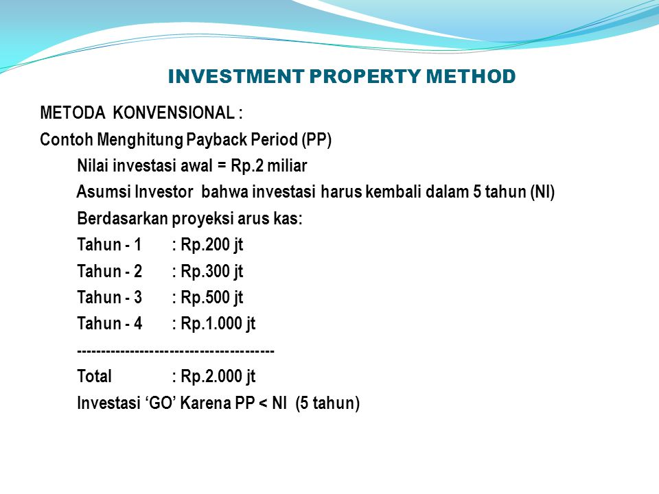 INVESTMENT PROPERTY METHOD