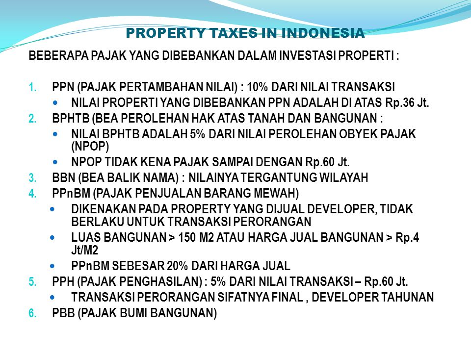 PROPERTY TAXES IN INDONESIA