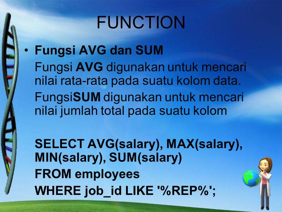 FUNCTION Fungsi AVG dan SUM