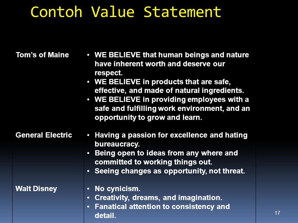 Contoh Value Statement
