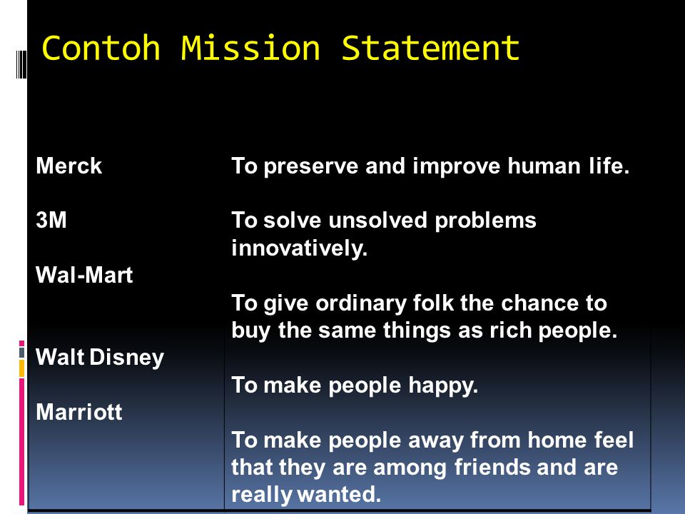 Contoh Mission Statement