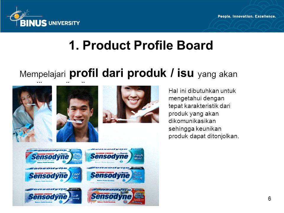 Mempelajari profil dari produk / isu yang akan dikomunikasikan