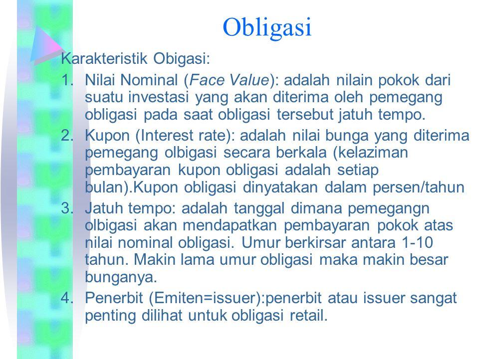 Obligasi Karakteristik Obigasi: