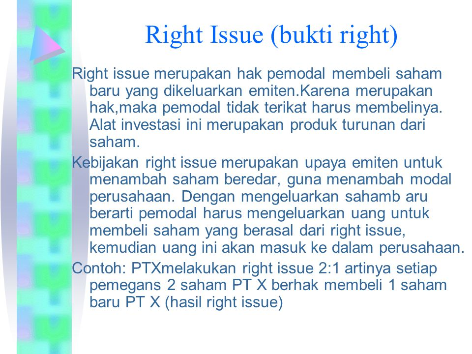 Right Issue (bukti right)