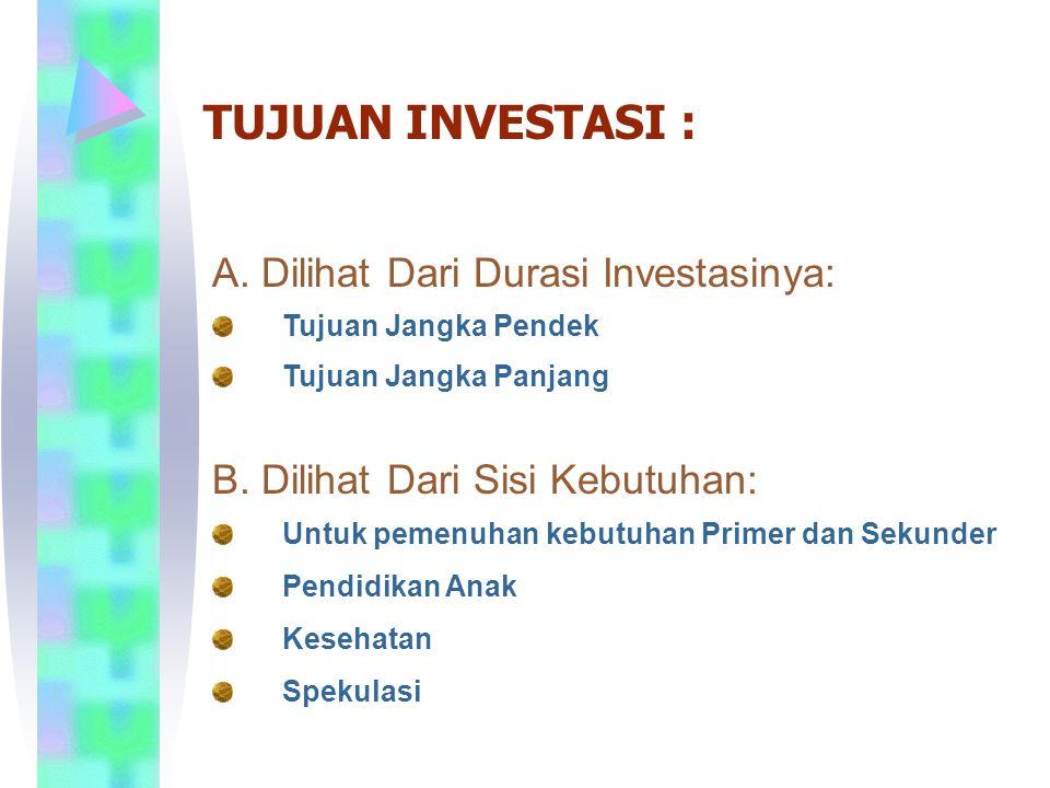 TUJUAN INVESTASI : A. Dilihat Dari Durasi Investasinya: