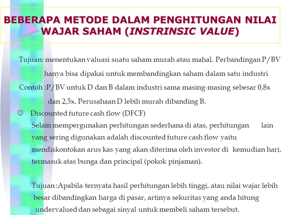 BEBERAPA METODE DALAM PENGHITUNGAN NILAI WAJAR SAHAM (INSTRINSIC VALUE)