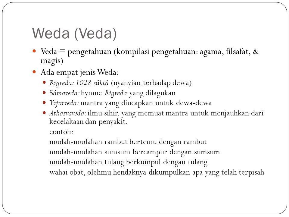 Weda (Veda) Veda = pengetahuan (kompilasi pengetahuan: agama, filsafat, & magis) Ada empat jenis Weda: